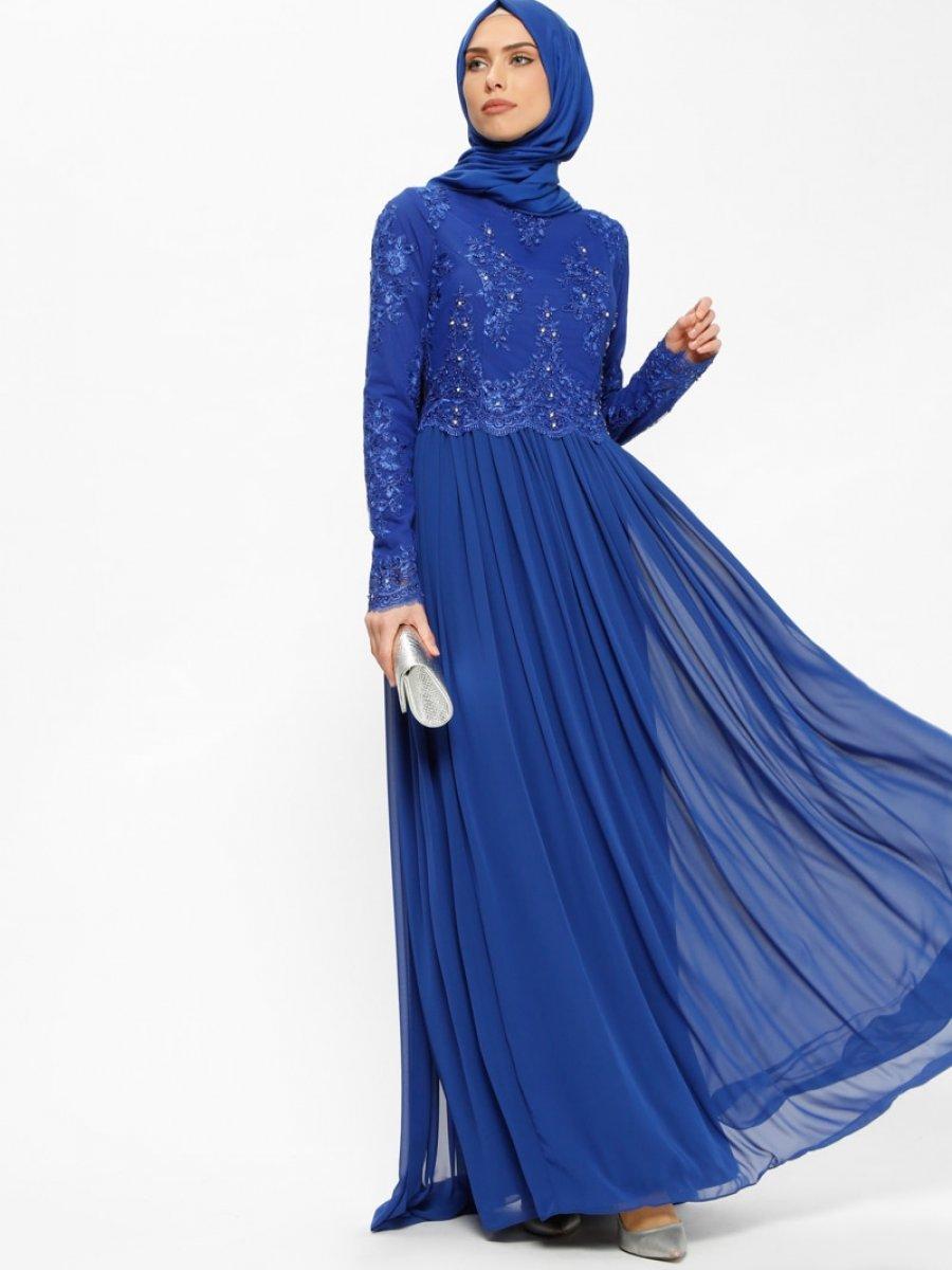 9ef87d2f97ecb Puane Şifon Parçalı Dantelli Saks Abiye Elbise | Ehl-i Tesettür