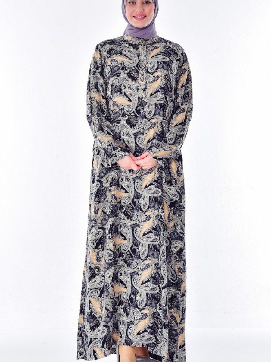 ae78799b01d01 Sefamerve Büyük Beden Taş Detaylı Siyah Gri Elbise | Ehl-i Tesettür
