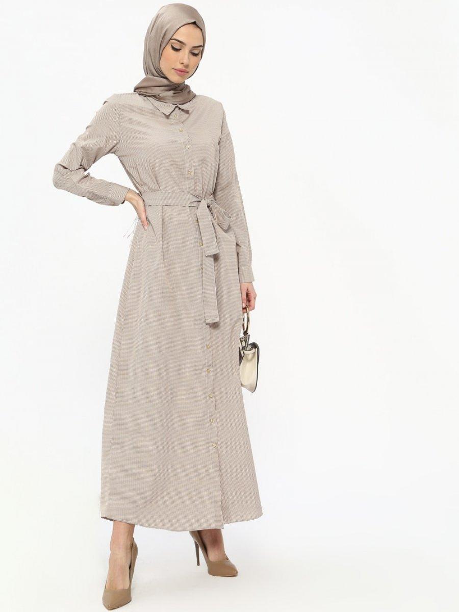 Tavin Doğal Kumaşlı Boydan Düğmeli Kahverengi Elbise