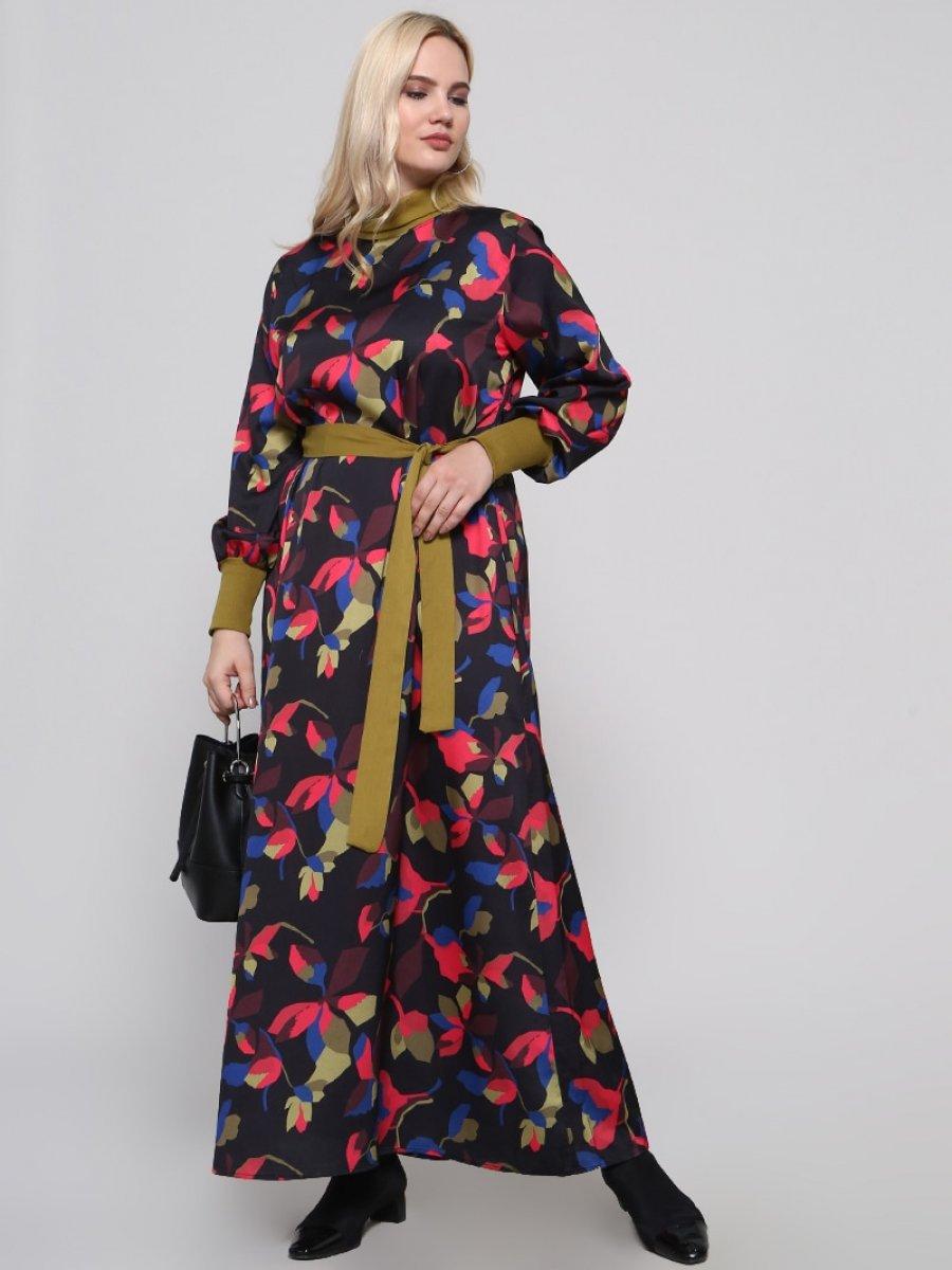 Alia Balıkçı Yaka Desenli Siyah Fuşya Elbise