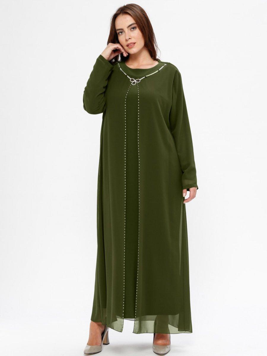 1a6eca1ee7d9a Havva Ana Taşlı Haki Abiye Elbise | Ehl-i Tesettür