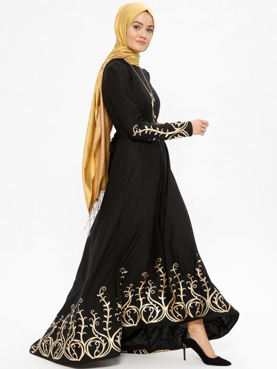 98b9387082077 AYŞE MELEK TASARIM Kolyeli Varaklı Siyah Abiye Elbise | Ehl-i Tesettür