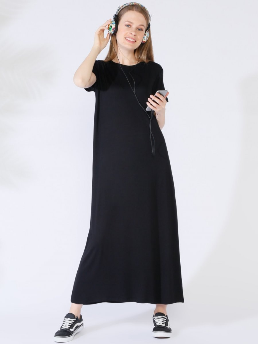96416cde91aaf Everyday Basic 135 cm Doğal Kumaştan Kısa Kollu Siyah Elbise | Ehl-i ...