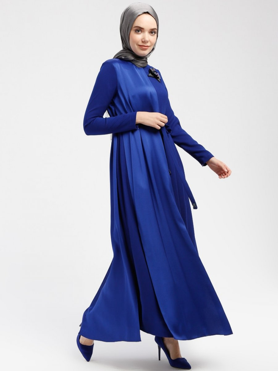 bdeed38f37254 Armine Boncuk Payet Detaylı Saks Elbise | Ehl-i Tesettür