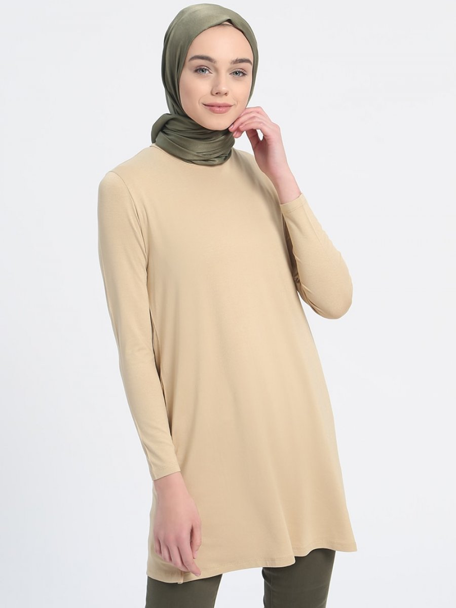 Everyday Basic 85 cm Doğal Kumaşlı Basic Kum Beji Tunik
