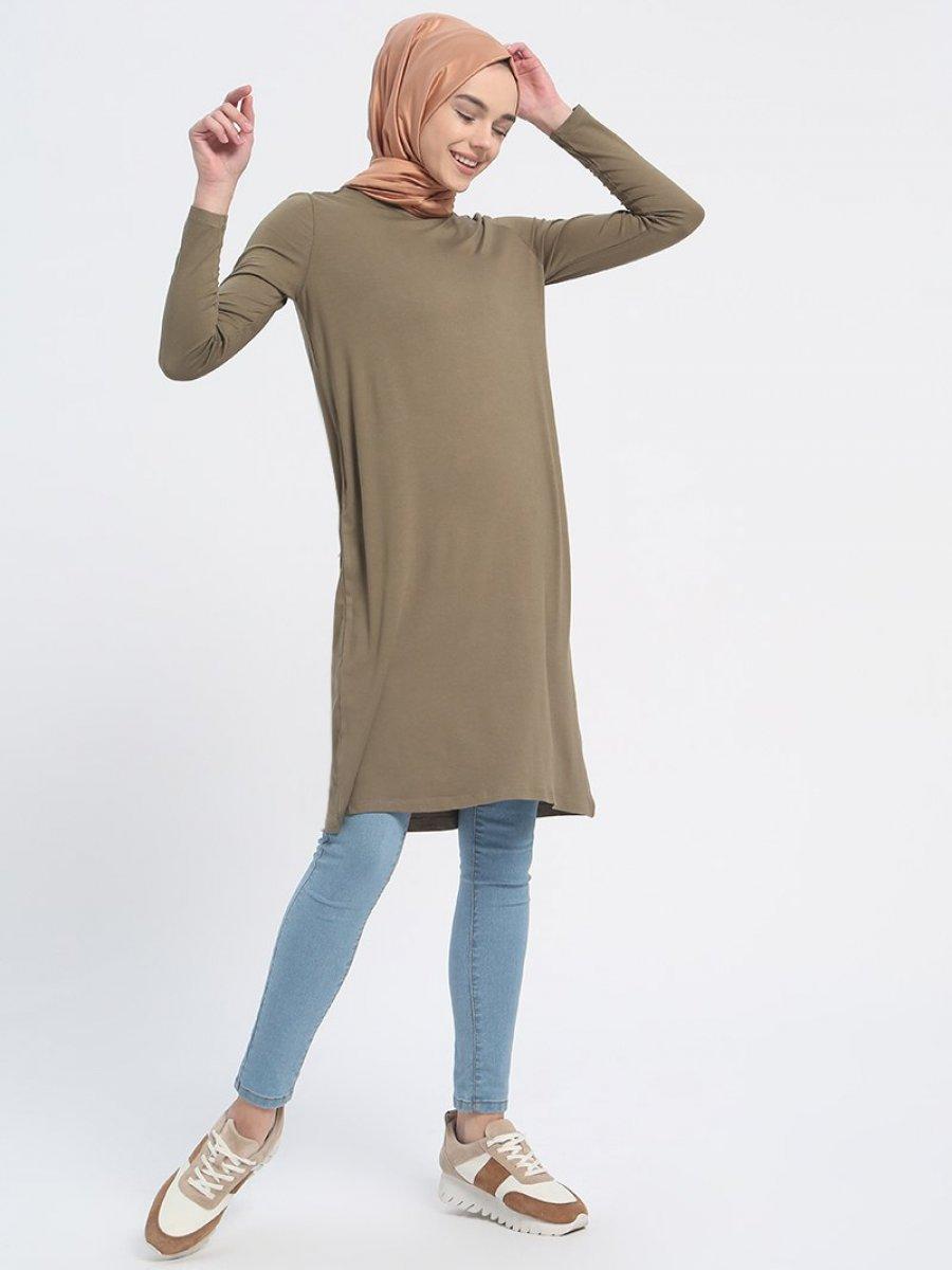 Everyday Basic 85 cm Doğal Kumaşlı Basic Haki Tunik
