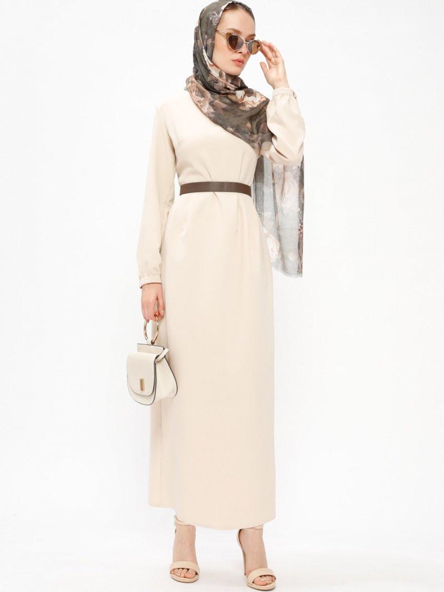 Beha Tesettür Pile Detaylı Bej Elbise