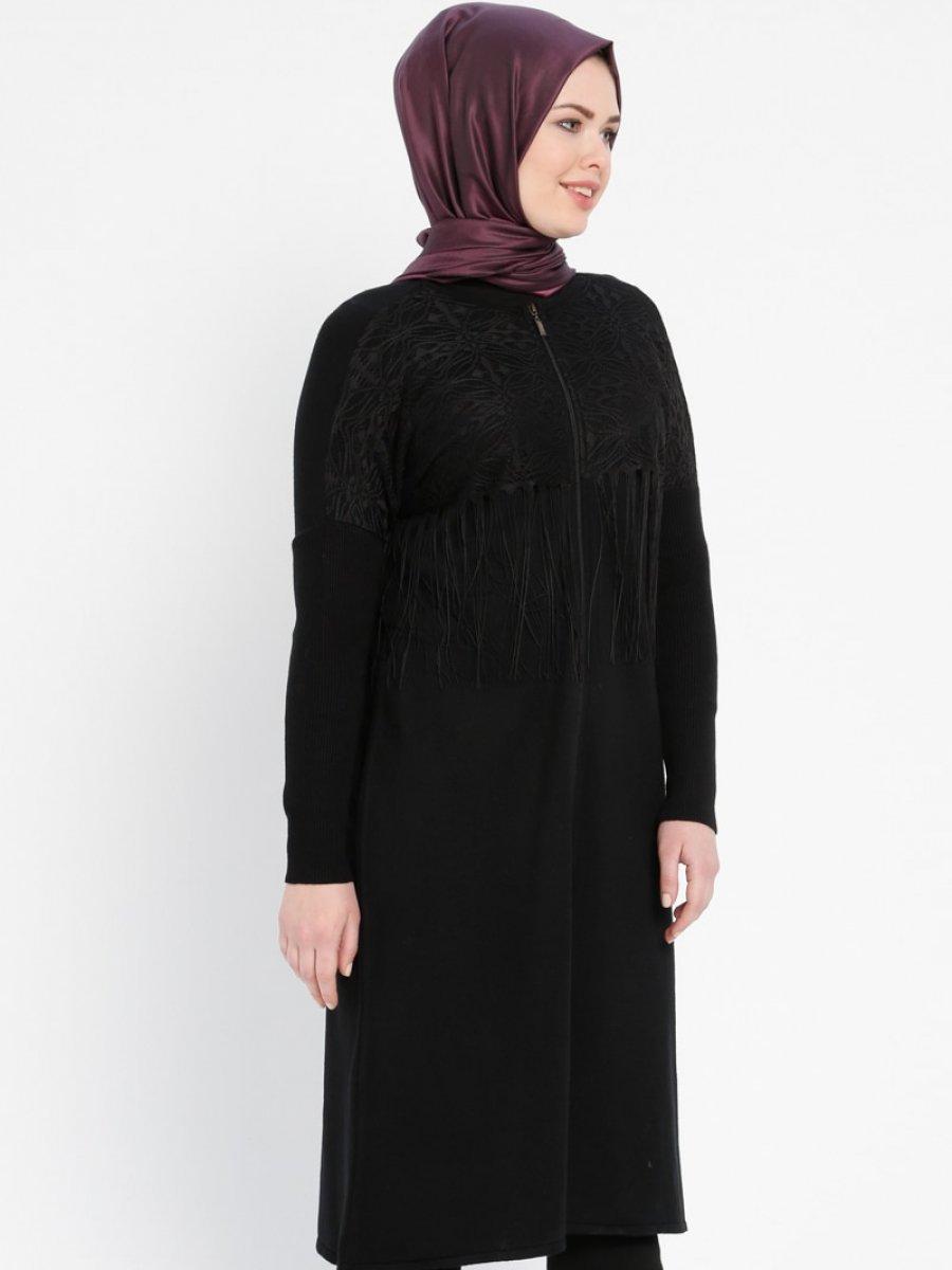 TUĞBA Fermuarlı Triko Siyah Hırka