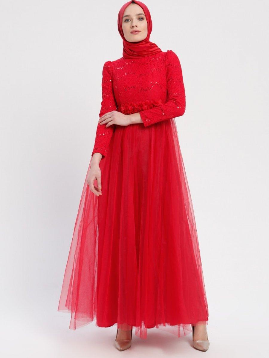 92d8ce134c350 Sew&Design Tül Detaylı Payetli Kırmızı Abiye Elbise | Ehl-i Tesettür