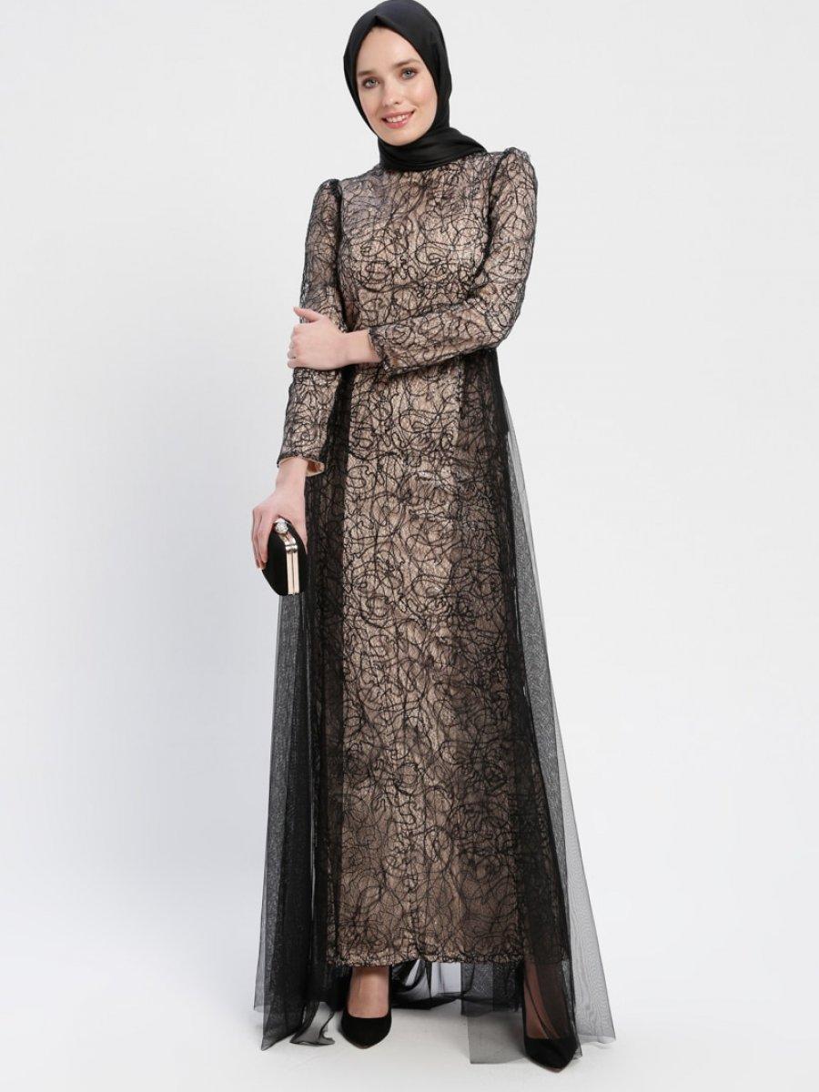 7bc011b2e1fb0 Sew&Design Tül Detaylı Payetli Siyah Abiye Elbise | Ehl-i Tesettür