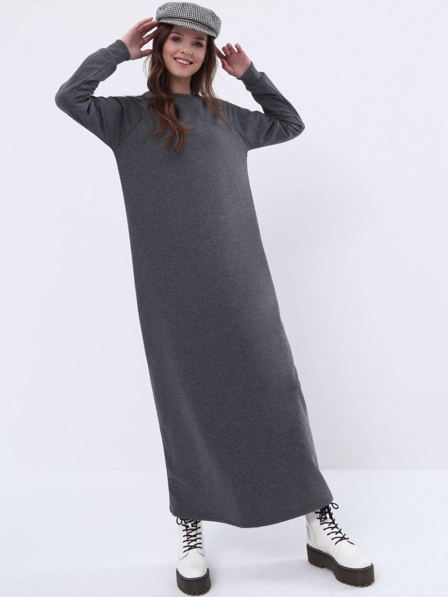 95e0ff3baa6b3 Everyday Basic Düz Renk Spor Antrasit Elbise | Ehl-i Tesettür