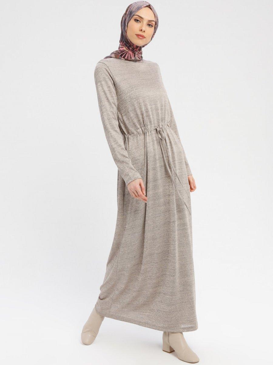3e9e57c4f4a Tavin Belden Bağlamalı Uzun Vizon Elbise | Ehl-i Tesettür
