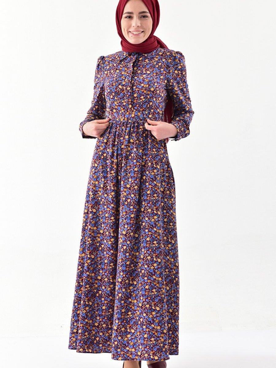 Sefamerve Desenli Kuşaklı Mürdüm Saks Elbise