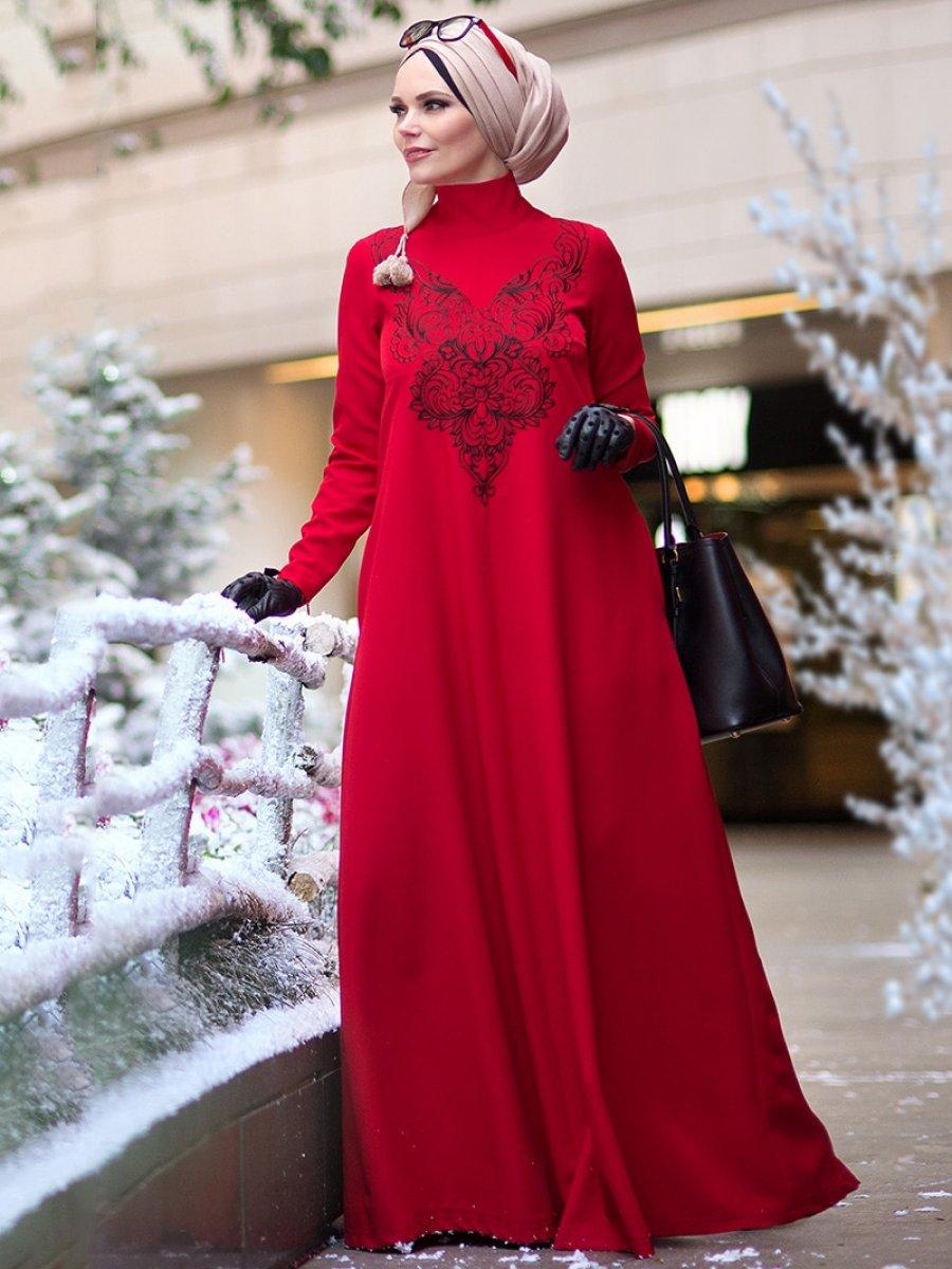 61bb99d9c3b14 Muslima Wear Kırmızı Diadema Crystal Elbise | Ehl-i Tesettür
