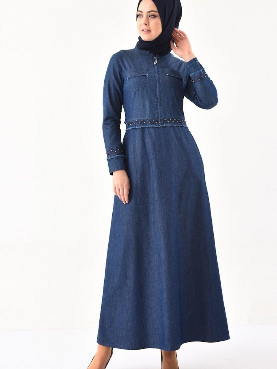 ff6f2b8d0fbde Sefamerve Dantel Detaylı Kemerli Kot Lacivert Elbise | Ehl-i Tesettür