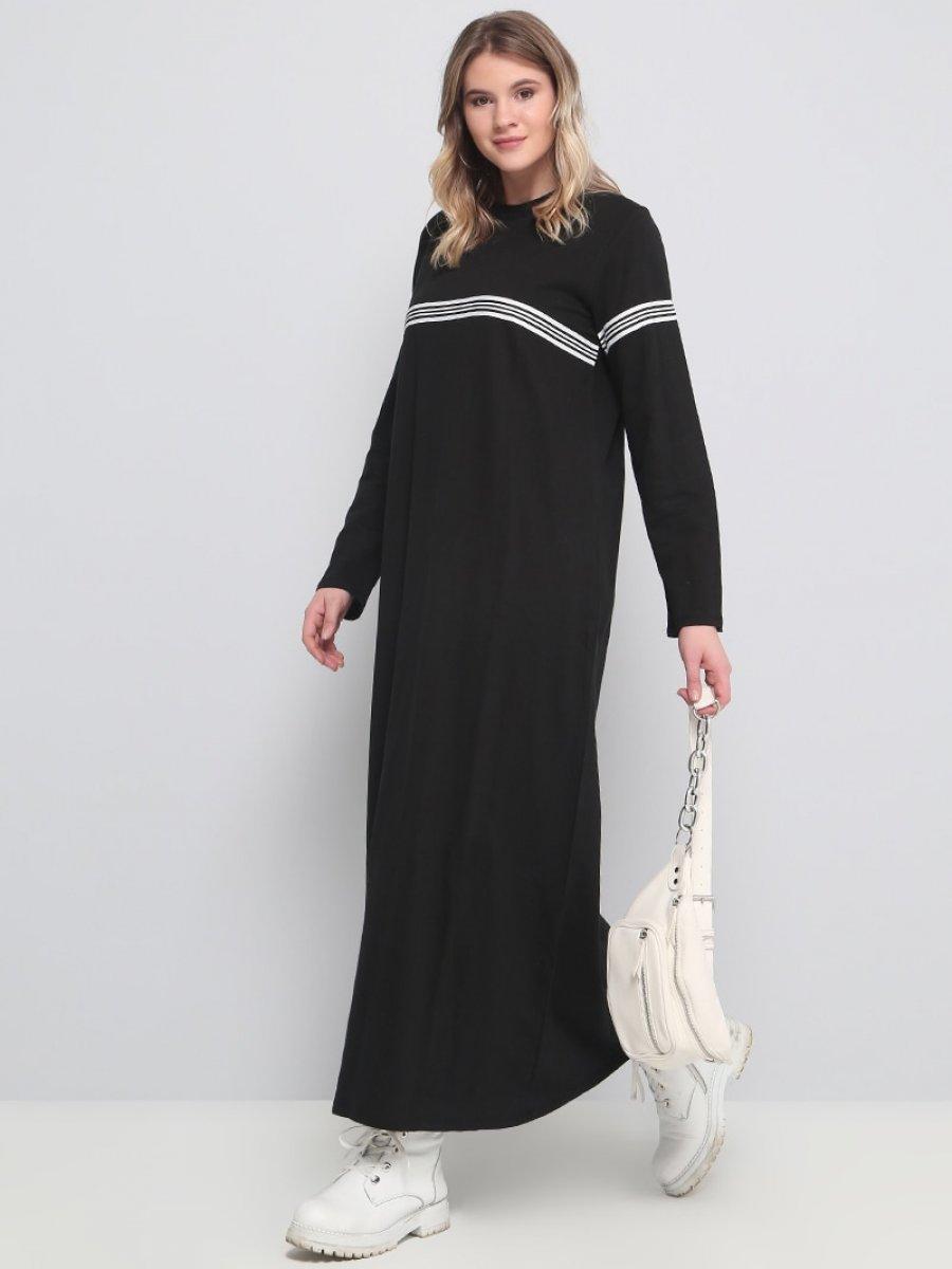 1df1d875a69c4 Alia Doğal kumaşlı Spor Siyah Elbise | Ehl-i Tesettür