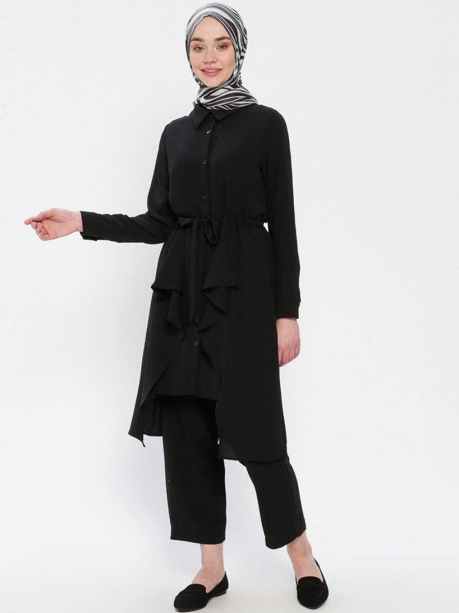 Panaline Düğmeli Tunik&Pantolon İkili Siyah Takım