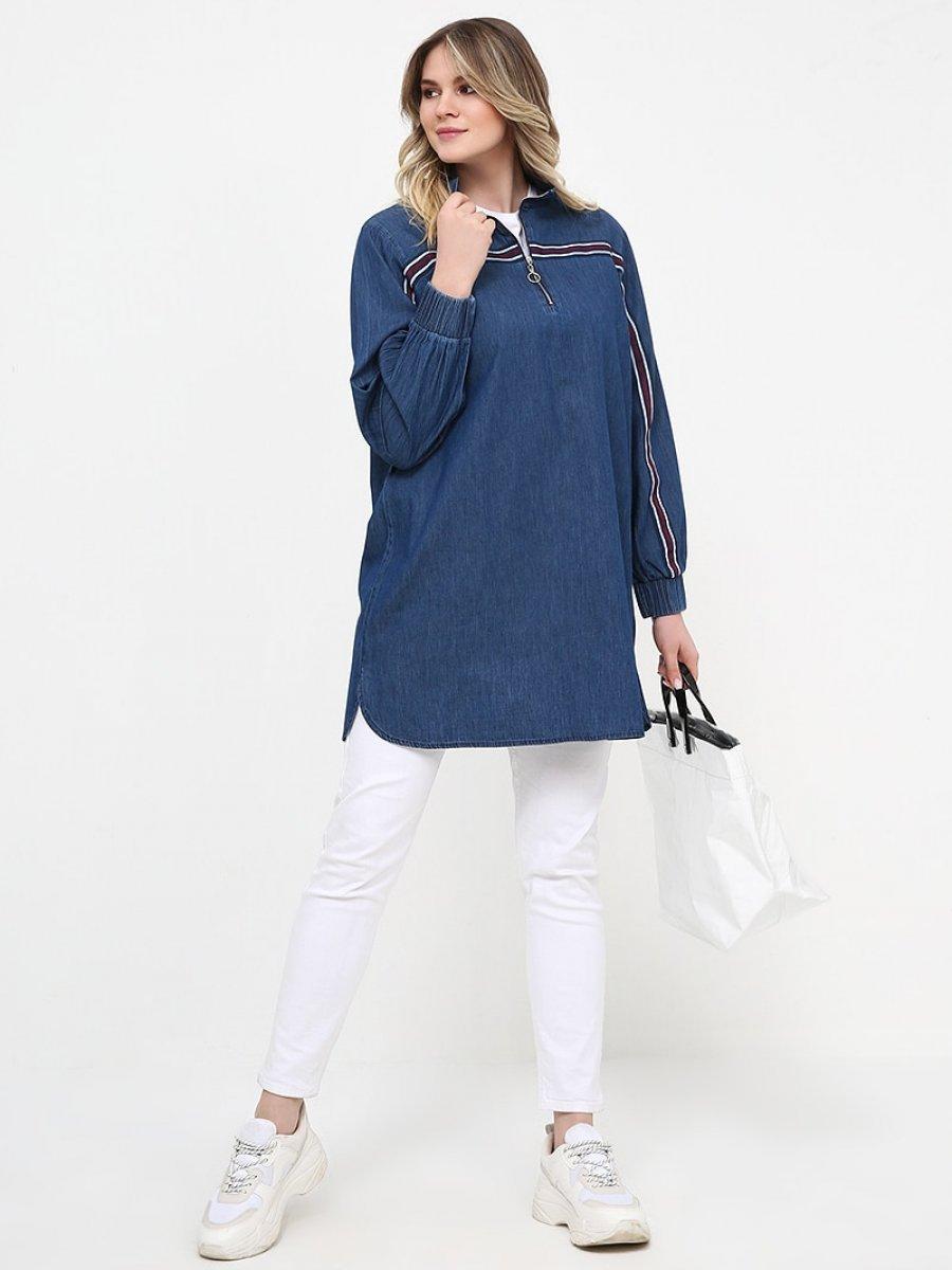 Alia Yakası Fermuarlı Kot Mavi Tunik