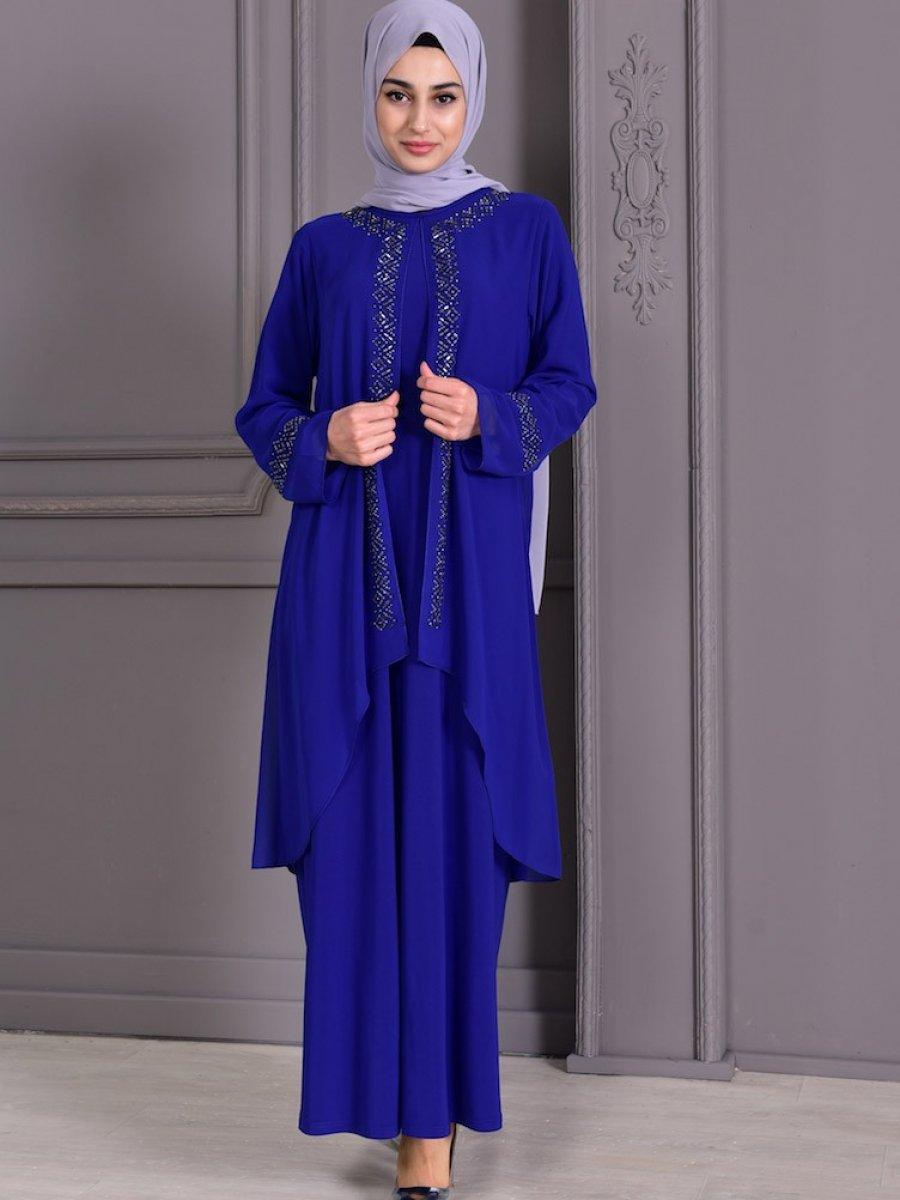 Sefamerve Büyük Beden Taş Baskılı Saks Abiye Elbise