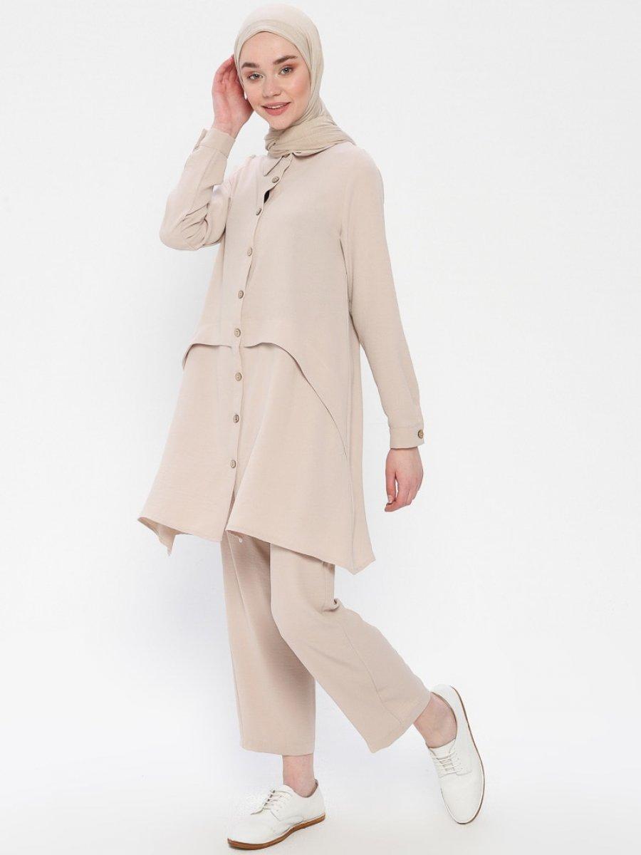 Panaline Düğmeli Tunik&Pantolon İkili Taş Takım
