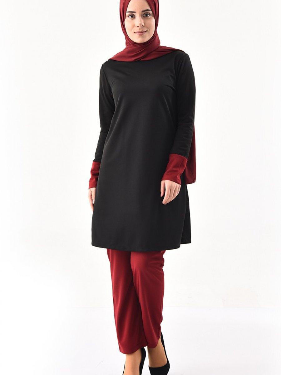 Sefamerve Garnili Tunik Pantolon İkili Siyah Bordo Takım