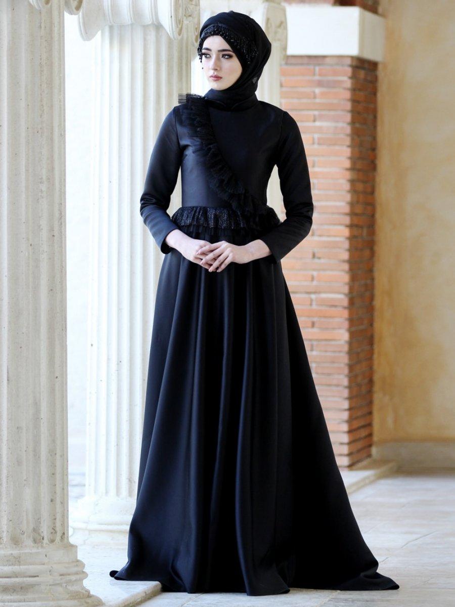 8e249134aae36 Nurbanu Kural Siyah Sadem Abiye Elbise | Ehl-i Tesettür