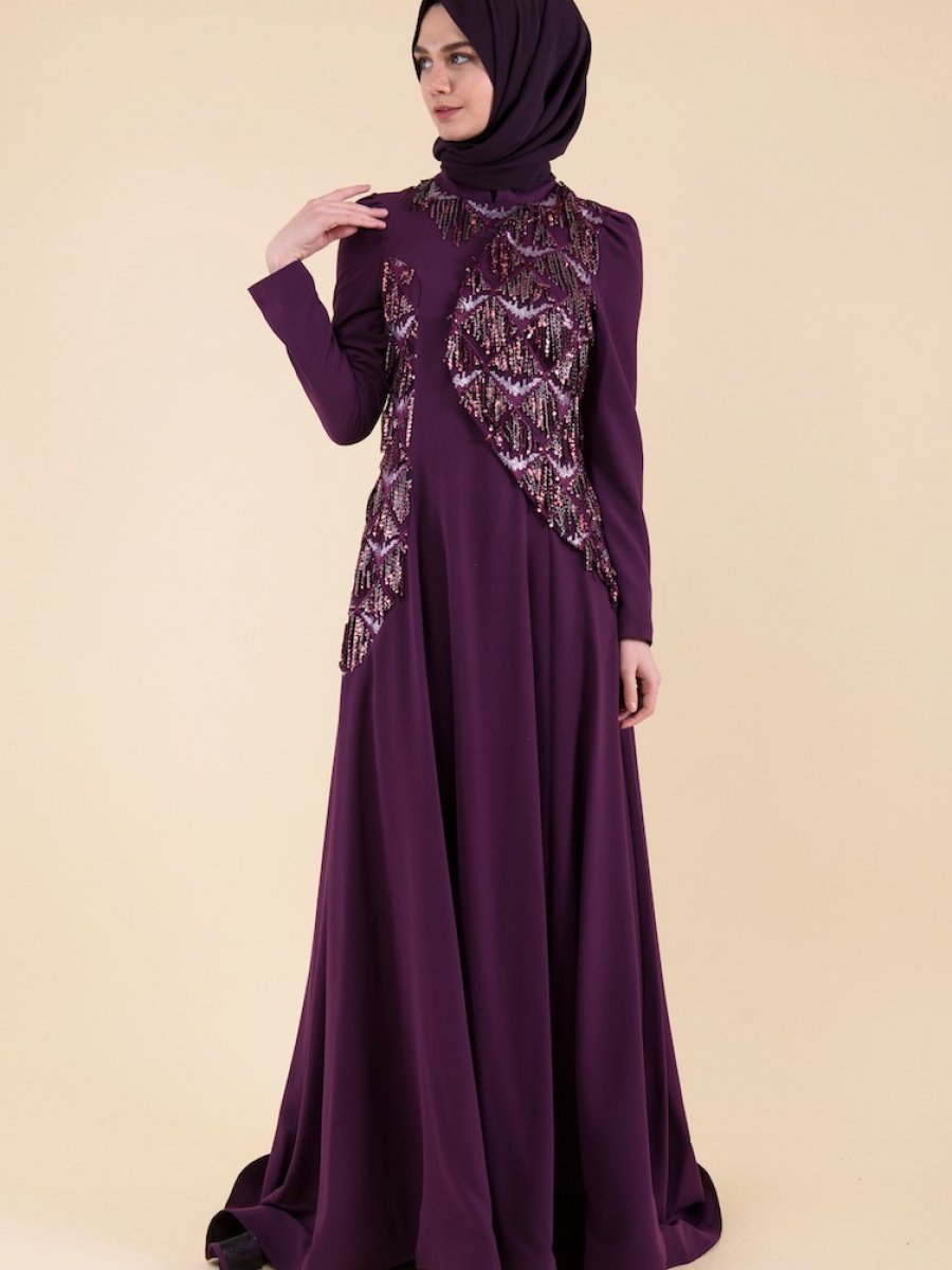 6814ccbf038fc Sefamerve Payet Detaylı Mor Abiye Elbise | Ehl-i Tesettür