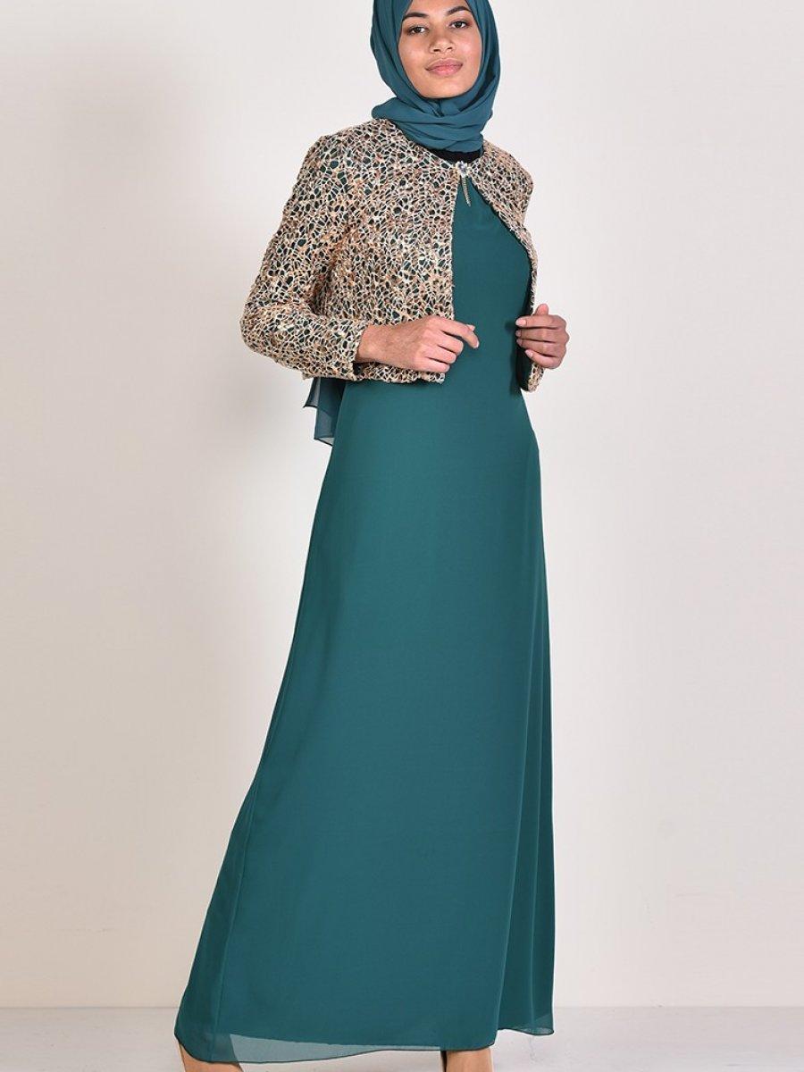 110afeb38a559 Sefamerve Payet Ceketli Yeşil Abiye Elbise | Ehl-i Tesettür