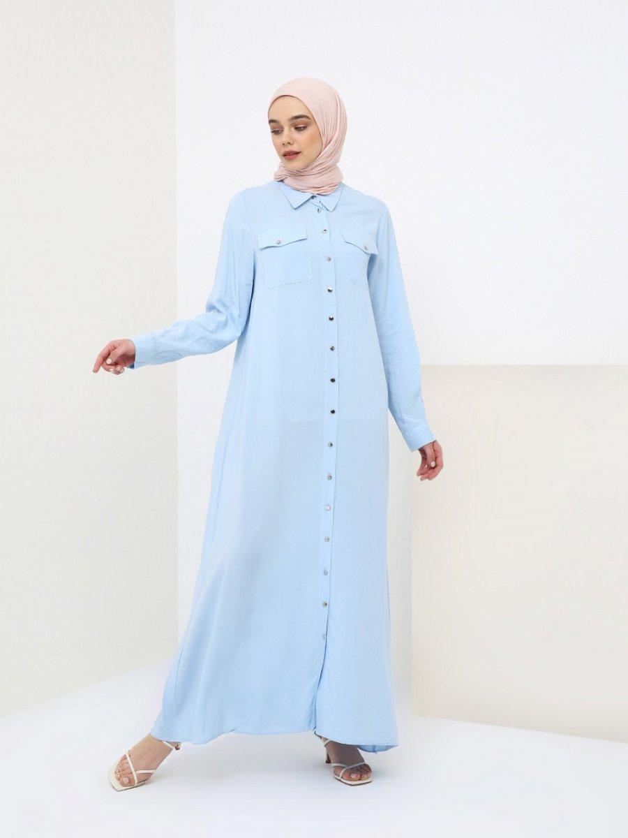 36aad6004df77 Benin Doğal Kumaşlı Boydan Düğmeli Mavi Elbise   Ehl-i Tesettür