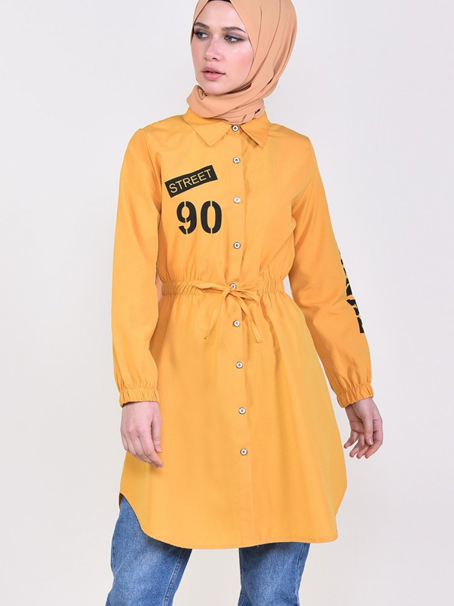 Sefamerve Beli Büzgülü Gömlek Sarı Tunik