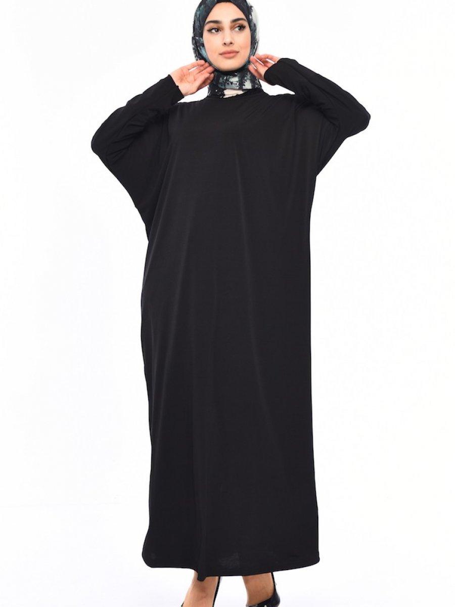 Sefamerve Yarasa Kol Sandy Siyah Elbise
