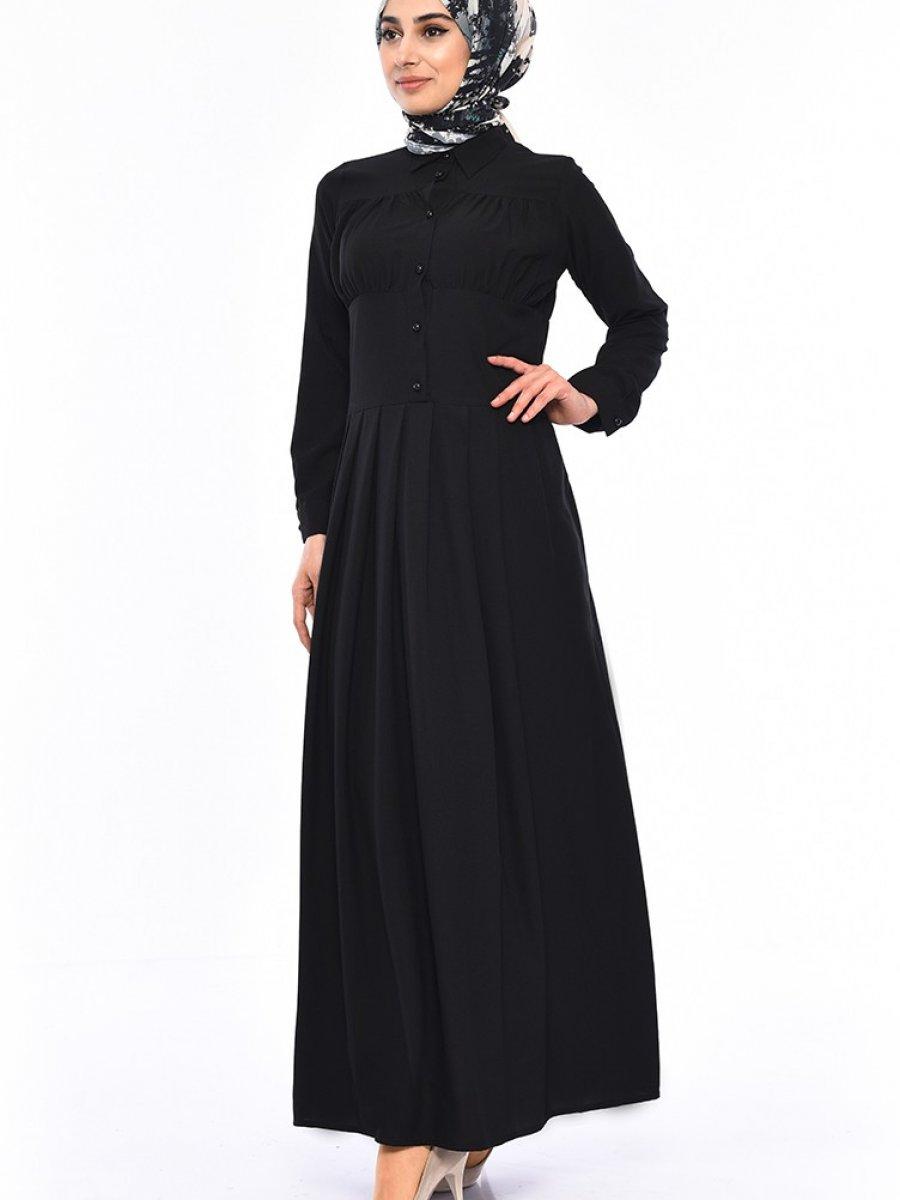 90bcf7fb0e033 Sefamerve Pileli Siyah Elbise | Ehl-i Tesettür