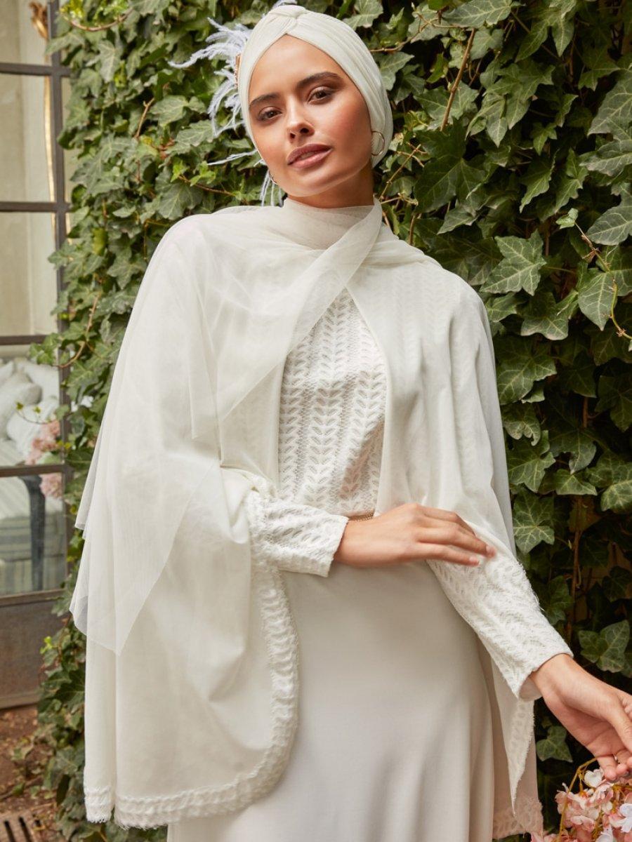 18c185aa78818 Mwedding Pelerin Detaylı Beyaz Abiye Elbise | Ehl-i Tesettür