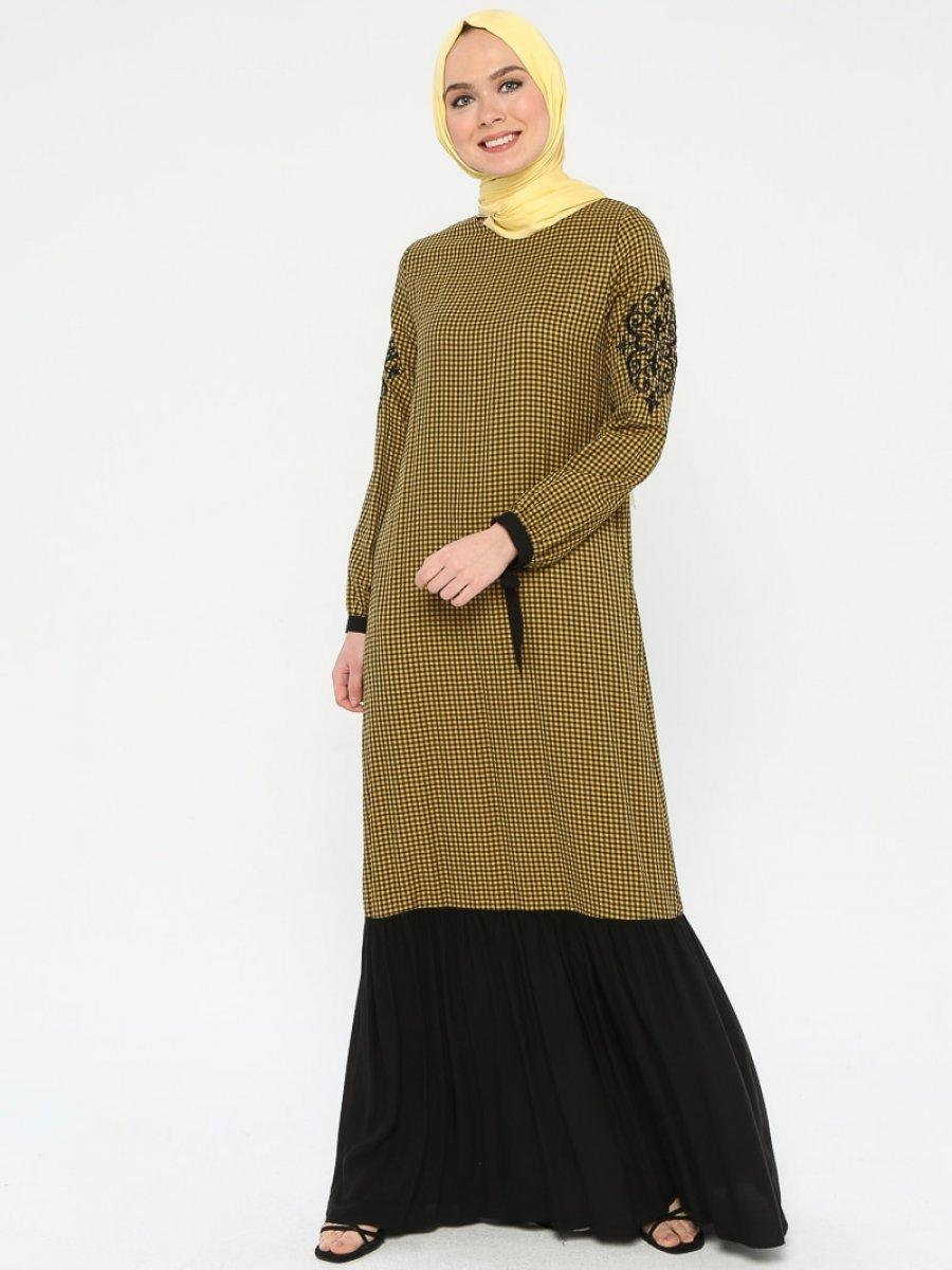 Ginezza Nakış Detaylı Garnili Hardal Elbise