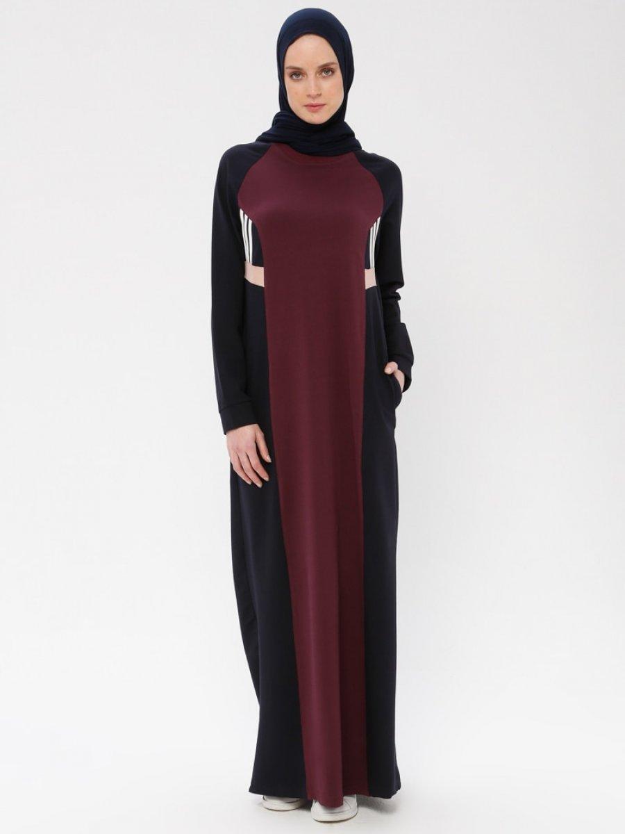 43f80b2f0a815 Bwest Uzun Spor Lacivert Elbise | Ehl-i Tesettür
