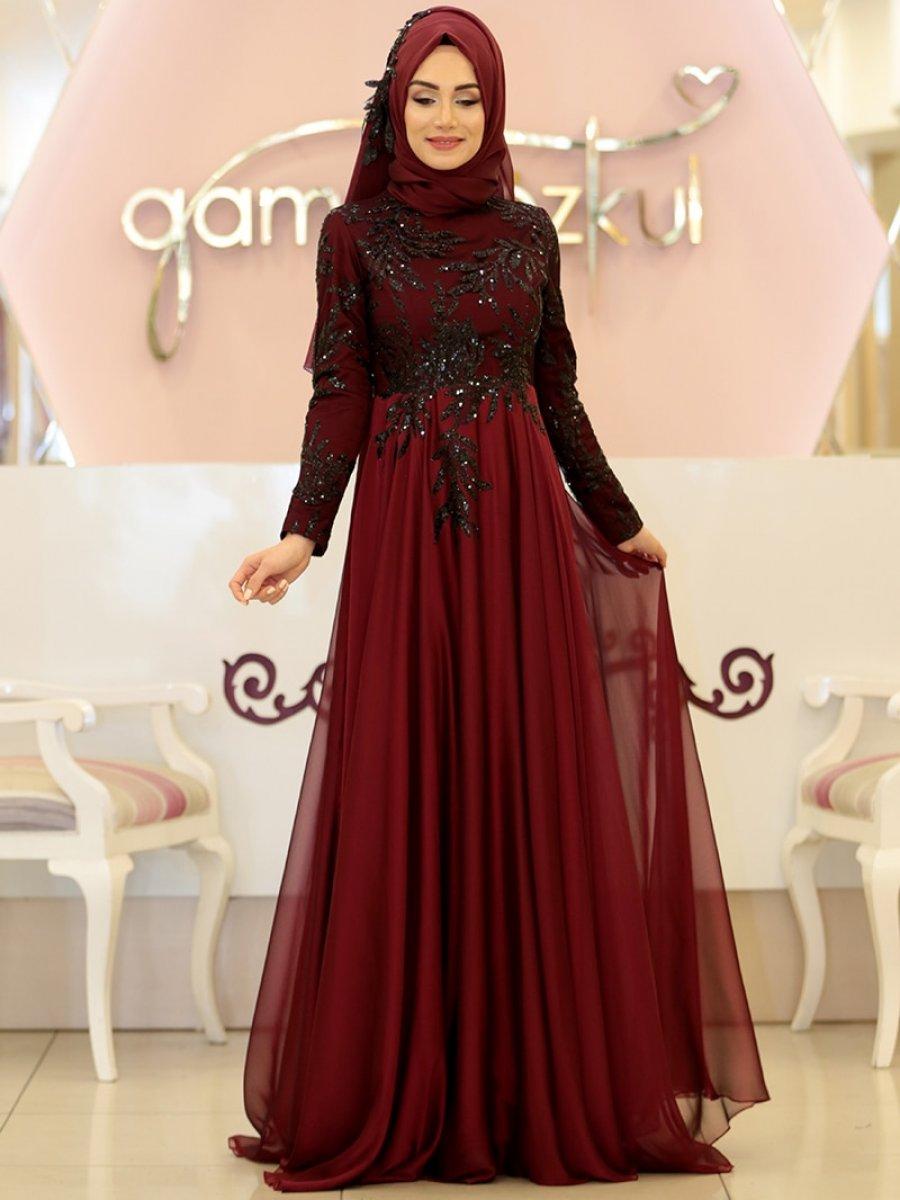 d3ce2157d0d96 Gamze Özkul Yaprak Şifon Bordo Abiye Elbise | Ehl-i Tesettür