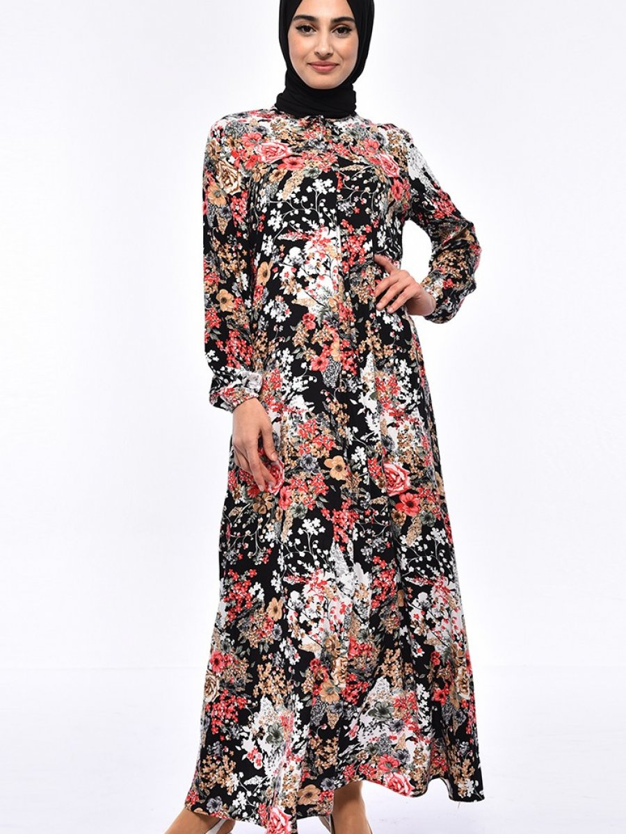 baee881dc6051 Sefamerve Desenli Viskon Siyah Elbise | Ehl-i Tesettür