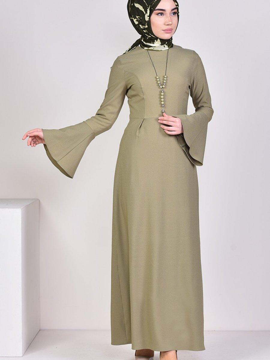 4ab9a6b20c6ab Sefamerve Kolyeli Açık Haki Yeşil Elbise | Ehl-i Tesettür
