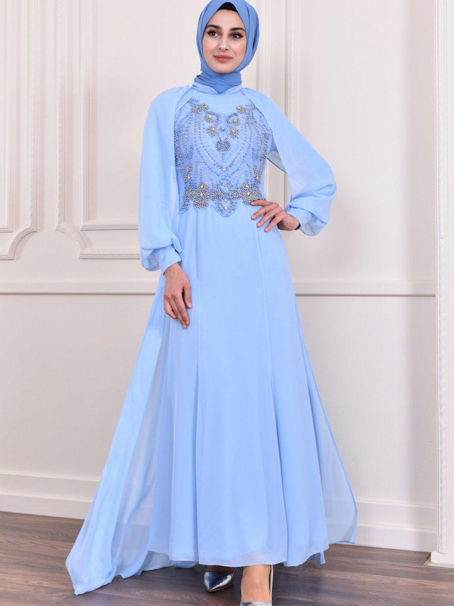 34c7ccabddb96 Sefamerve Boncuk İşlemeli Bebek Mavisi Abiye Elbise | Ehl-i Tesettür