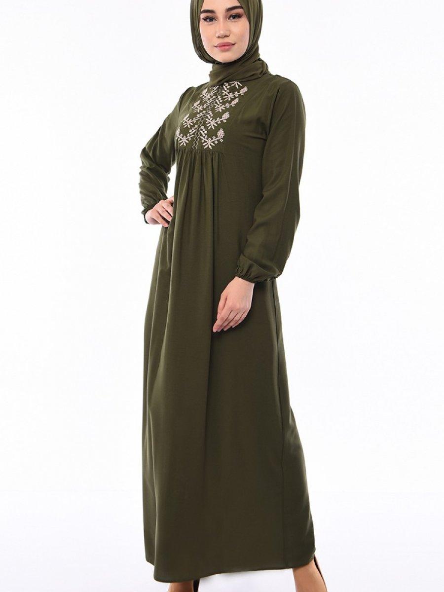Sefamerve Önü Nakışlı Yeşil Elbise