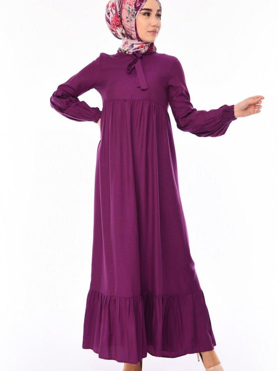 d6e91c7235e2c Sefamerve Büzgülü Viskon Açık Mürdüm Elbise | Ehl-i Tesettür