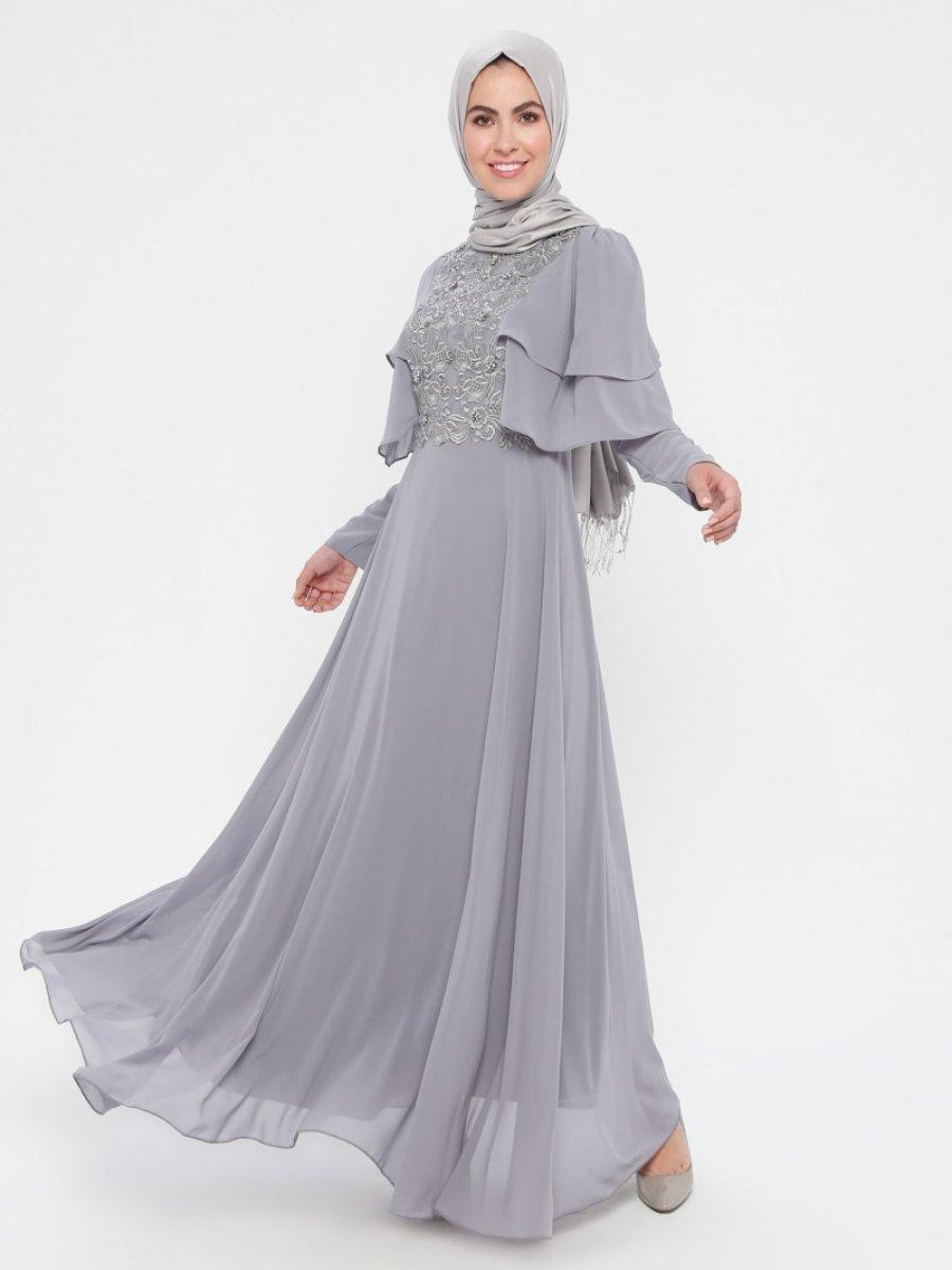 c0b2611037ea9 DMN Güpürlü Taşlı Gri Abiye Elbise | Ehl-i Tesettür