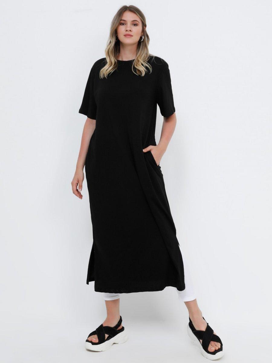 b6605cff37e8d Alia Doğal Kumaşlı Yırtmaç Detaylı Tunik Siyah Elbise | Ehl-i Tesettür