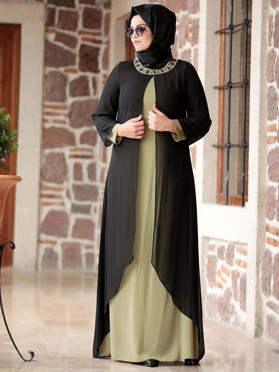 cf558cb006e87 Amine Hüma Yakası Taşlı Siyah Haki Abiye Elbise | Ehl-i Tesettür