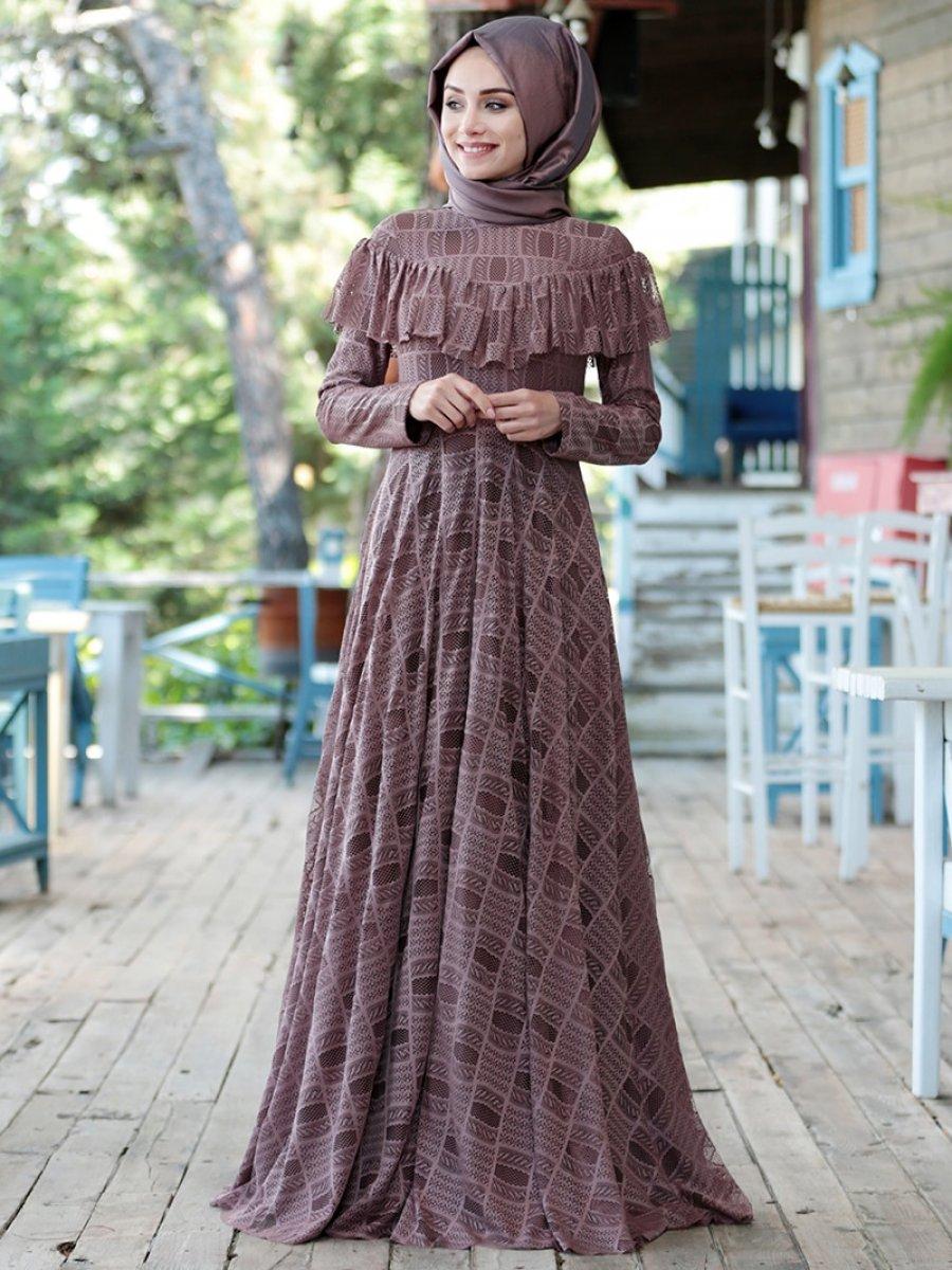 153a688ed4ecb Gamze Özkul Vintage Dantel Detaylı Gül Kurusu Abiye Elbise | Ehl-i ...