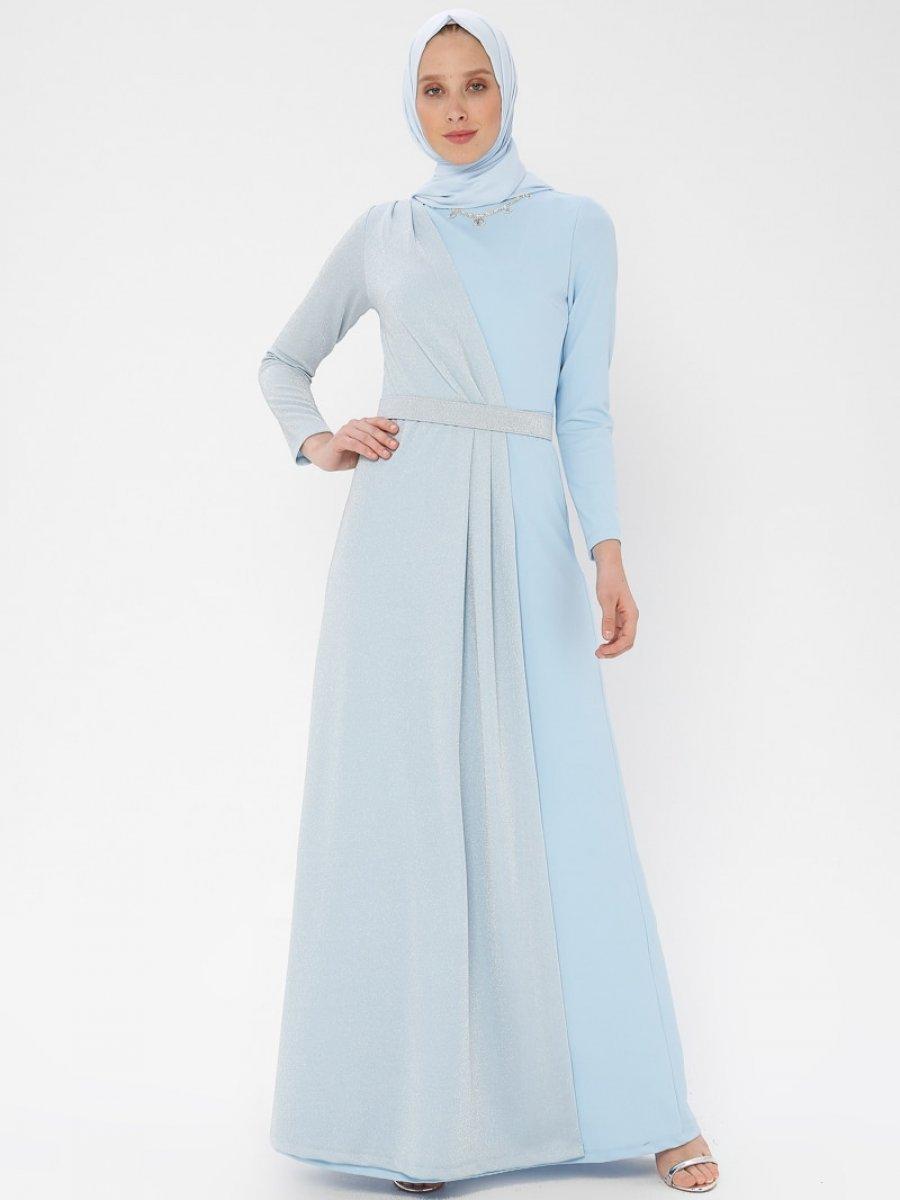 bf17747413324 Arin Kolye Detaylı Simli Mavi Abiye Elbise | Ehl-i Tesettür