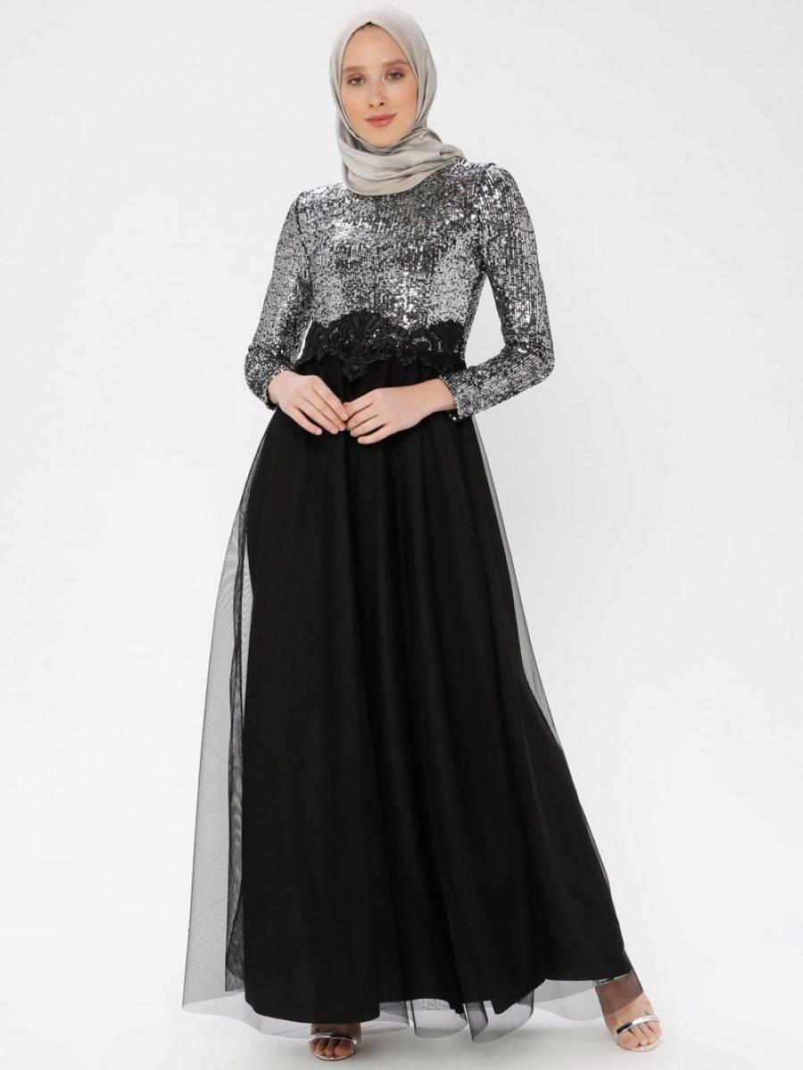 d90215e4109d5 Arin Beli Motifli Pul İşlemeli Tül Etek Gümüş Abiye Elbise | Ehl-i ...