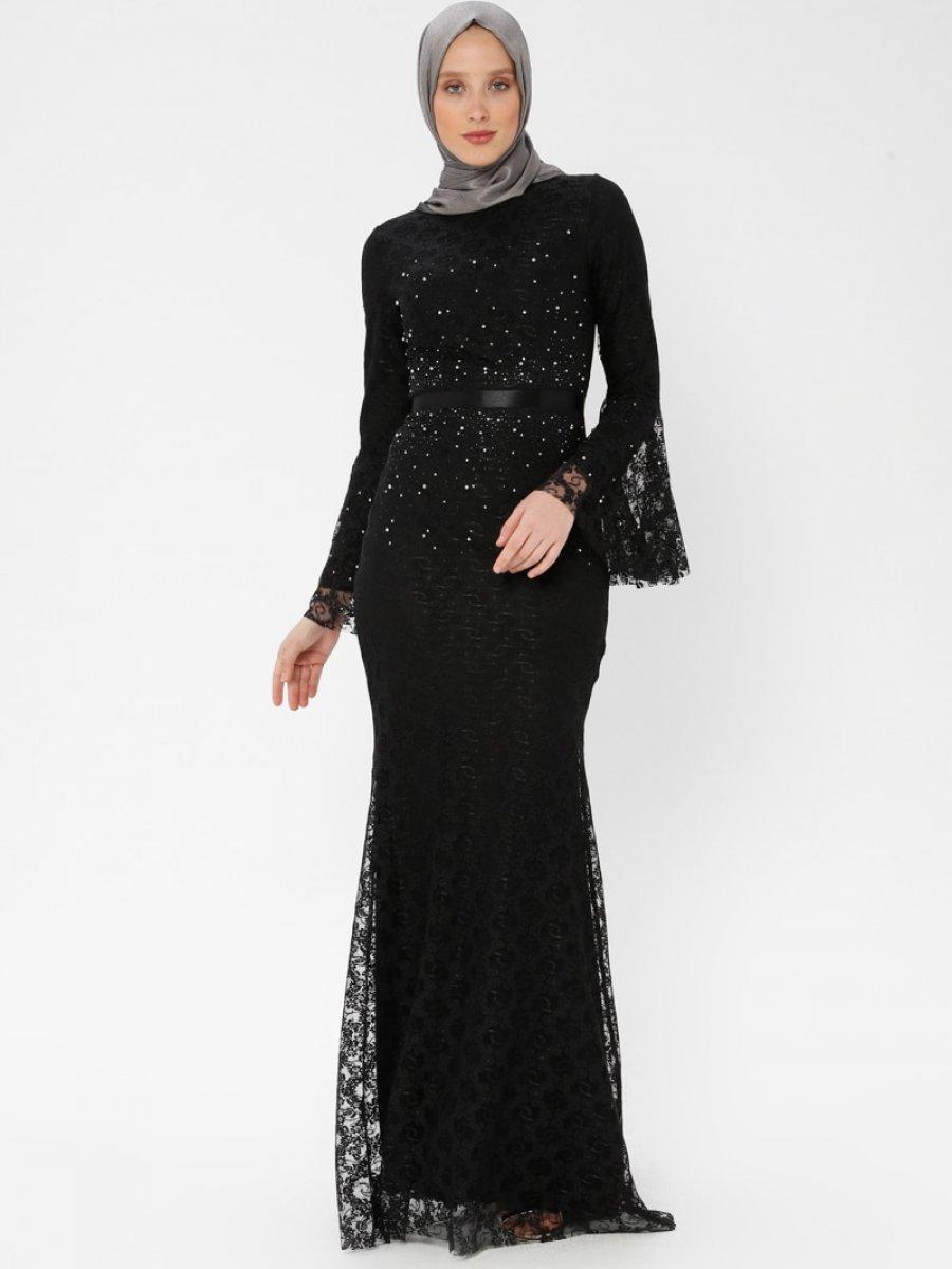 5ea947d106179 Arin Taş İşlemeli Dantel Balık Siyah Abiye Elbise | Ehl-i Tesettür