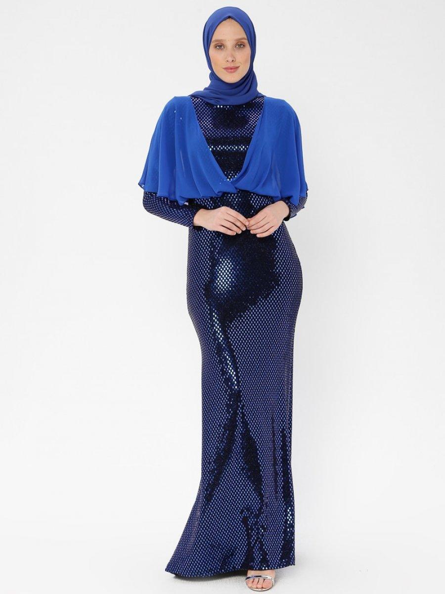 449565b5f898b Arin Üstü Şifon Garnili Balık Saks Mavisi Abiye Elbise | Ehl-i Tesettür