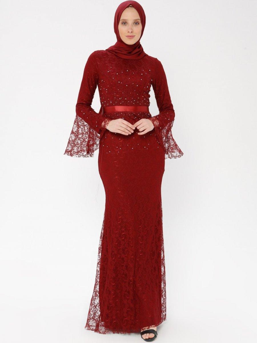 04867d0581e4f Arin Taş İşlemeli Dantel Balık Bordo Abiye Elbise | Ehl-i Tesettür